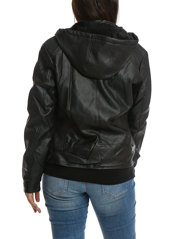 Hooded Full Zipper Jacket PU/Leather