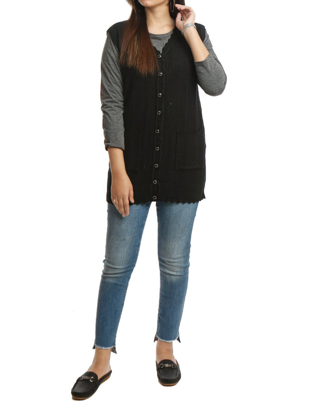 Long Cardigan Sleeveless Button Down