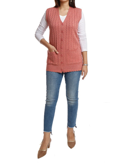 Acrylic Short Cardigan Sleeveless Button Down