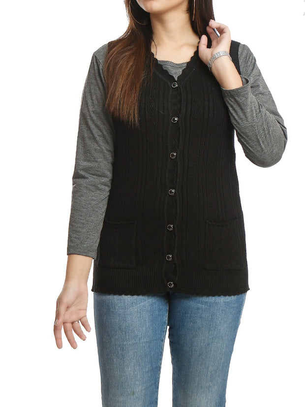 Short Cardigan Sleeveless Button Down