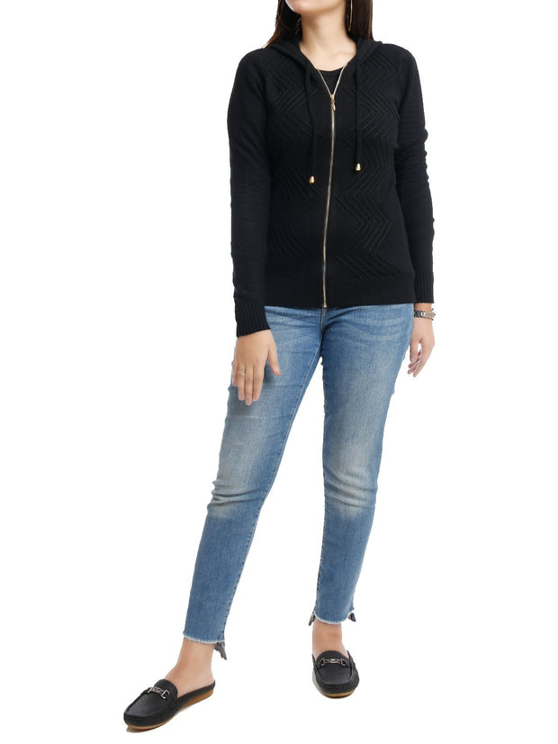 Hooded Short Cardigan Long Sleeve Full Zipper