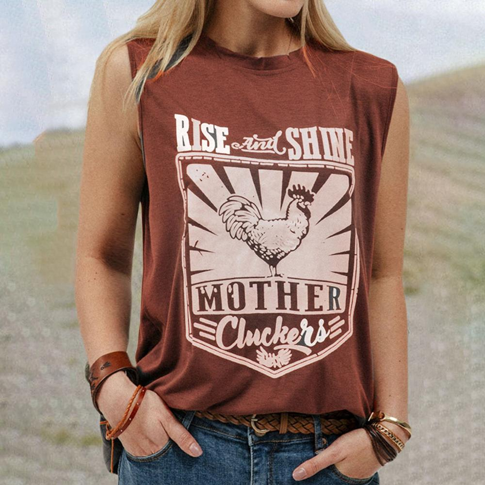Mafulus Round Neck Sleeveless T-shirts Rooster Letter Print