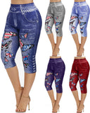 Mafulus Leggings Basic Stretch Pants With Butterfly Pattern Five-point Pants Summer New