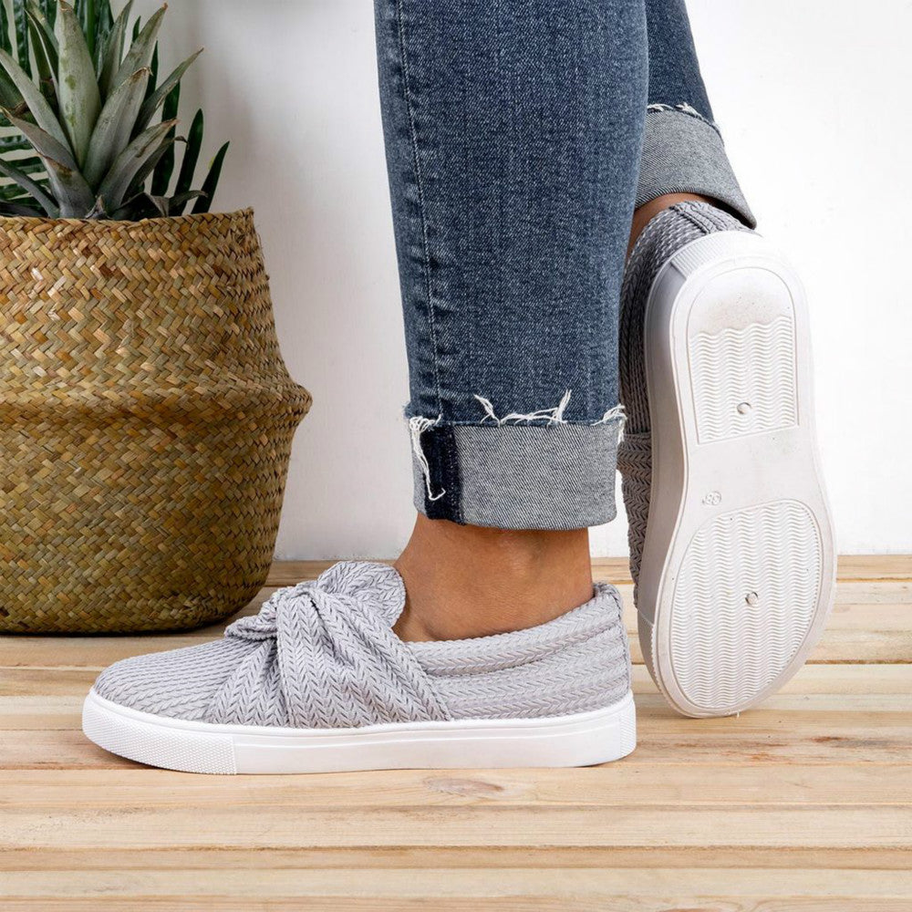 Mafulus Women Knitted Twist Slip On Sneakers Loafers Shoes