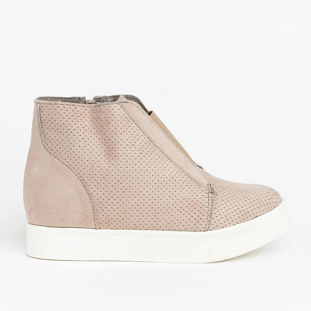 Wedge Platform Sneakers High Top Side Zipper Heeled Booties - Mafulus