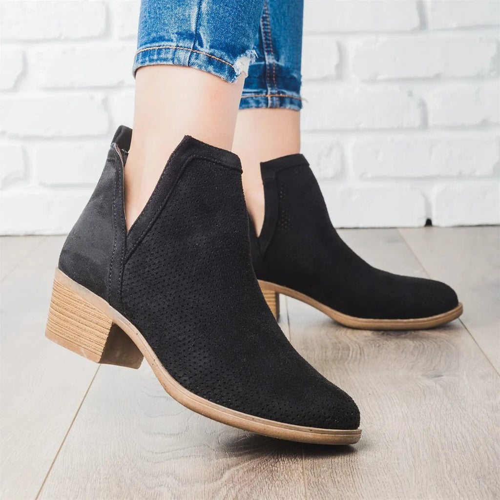 Mafulus Perforated Cut Out Ankle Boots