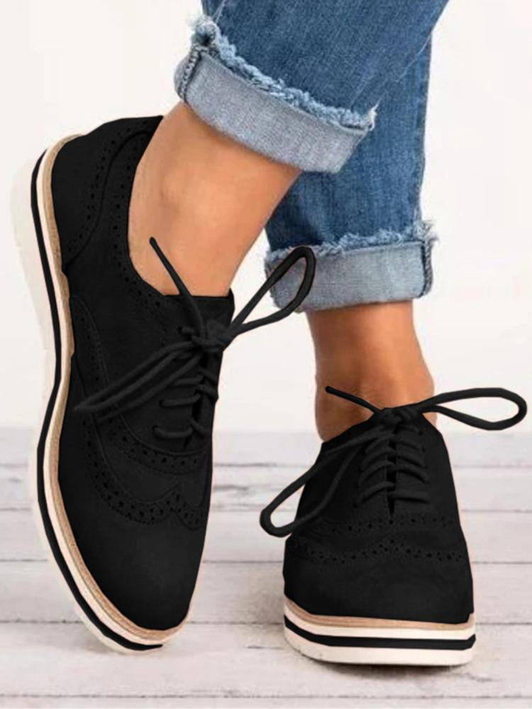 Mafulus Retro Lace Up Perforated Oxfords Flat Shoes