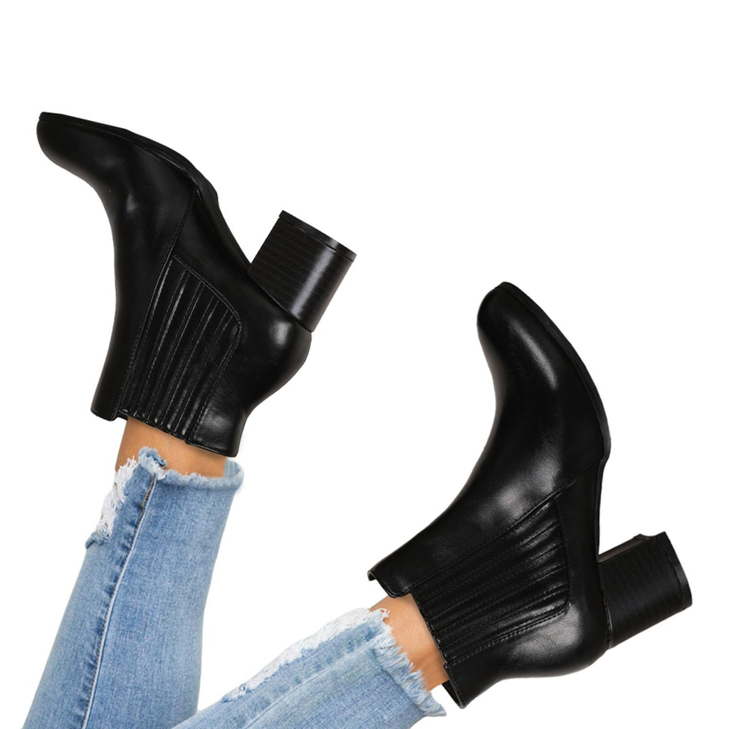 Mafulus Stacked Chunky Block Heels Slip On Ankle Boots