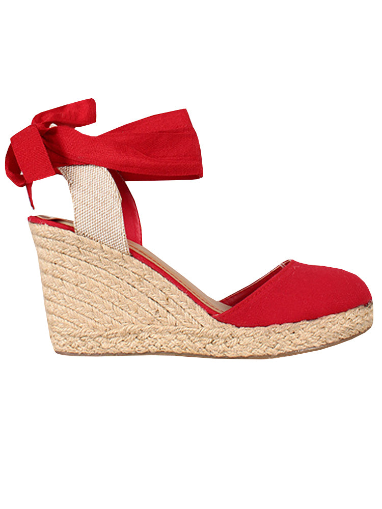 Womens Platform Wedge Sandals Closed Toe Lace Up Ankle Strap Heel Slingback Espadrille Sandals