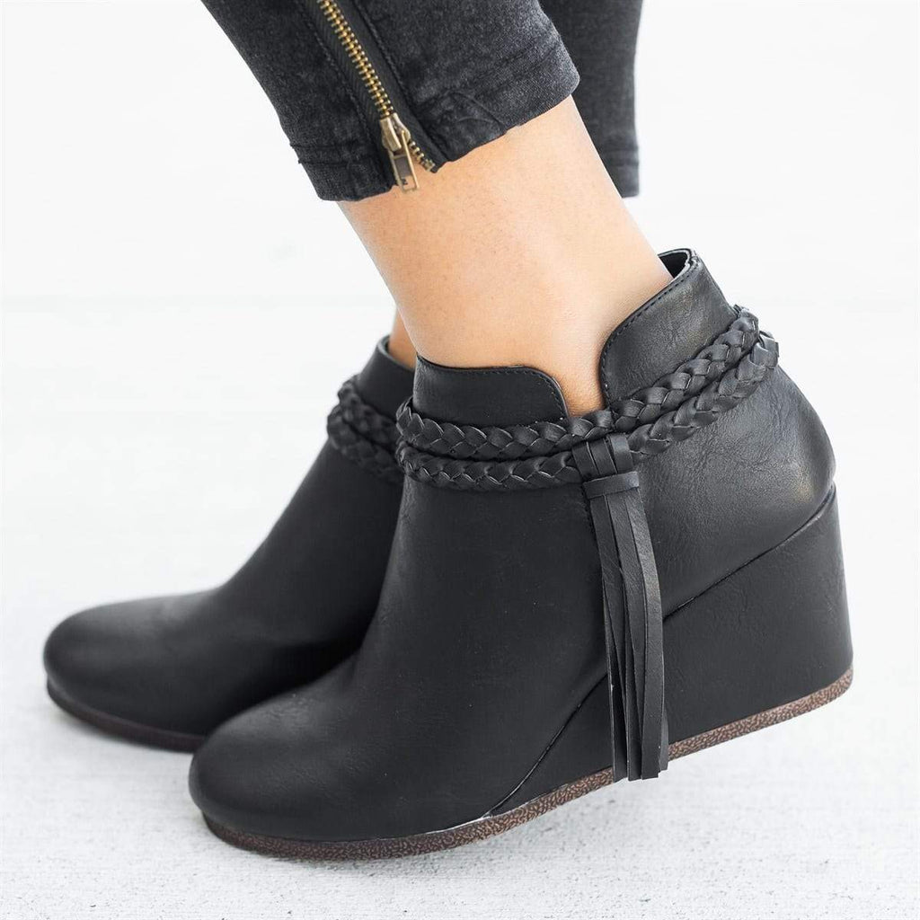 Mafulus Vintage Wedge Booties with Tassels