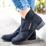 Round Toe Wrap Front Side Zipper Ankle Boots