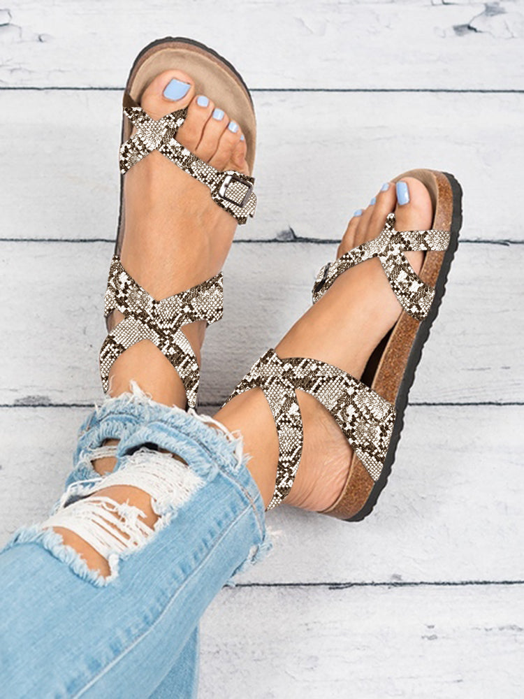 Womens Fashion Flat Ankle Buckle Sandals Gladiator Thong Flip Flop Mayari Sandals