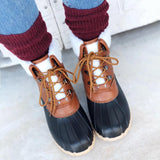 Womens Duck Boots Lace Up Two Tone Rain Boots - Mafulus