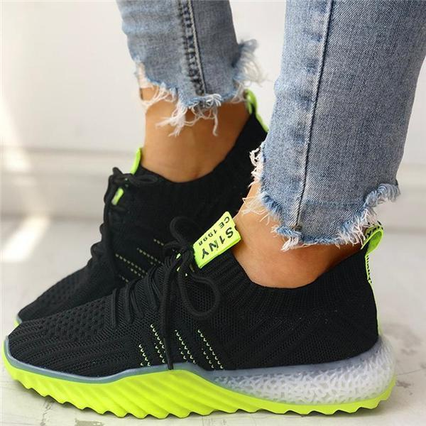 Mafulus Colorblock Knitted Breathable Lace-Up Sneakers