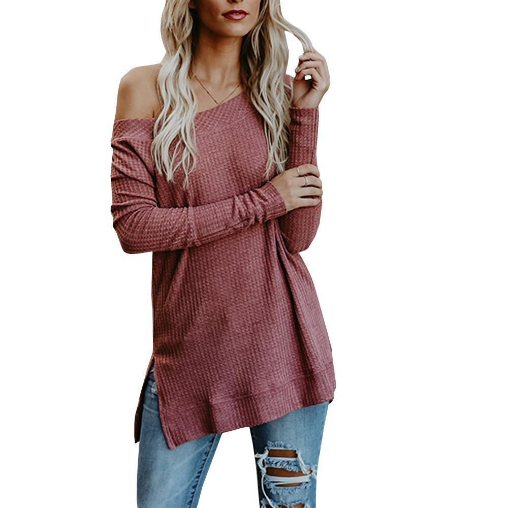 Off Shoulder Sweaters Casual Oversized Long Sleeve Knit Pullovers