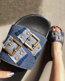 Mafulus Women's Buckle Embellished Flat Fashion Slides Sandals