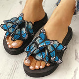 Mafulus Womens Butterfly Decoration Slip On Slides