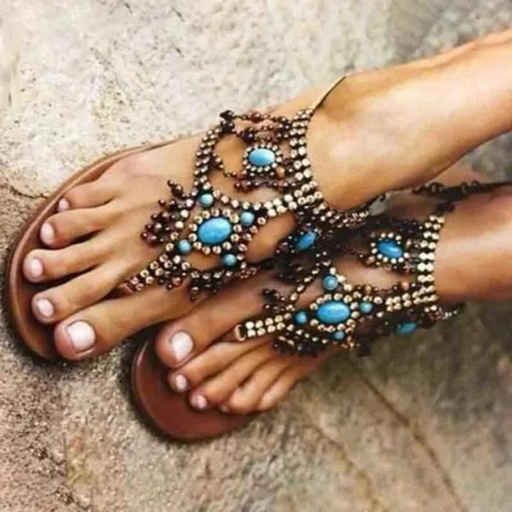 Mafulus Womens Bohemia Gladiator Sandals Summer Beach Flats