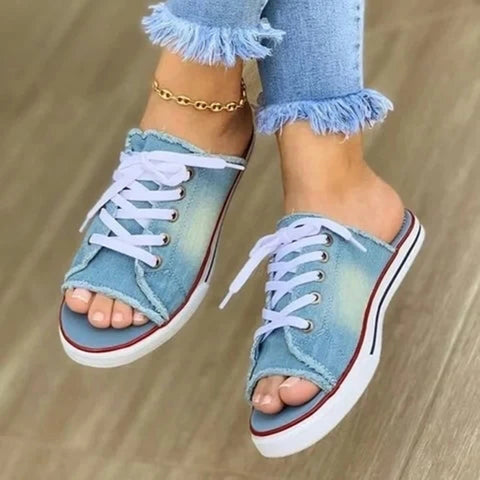 Mafulus Womens Open Toe Lace-up Denim Slide Sandals