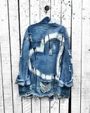 Mafulus Womens Ripped Distressed Long Sleeve Denim Jacket