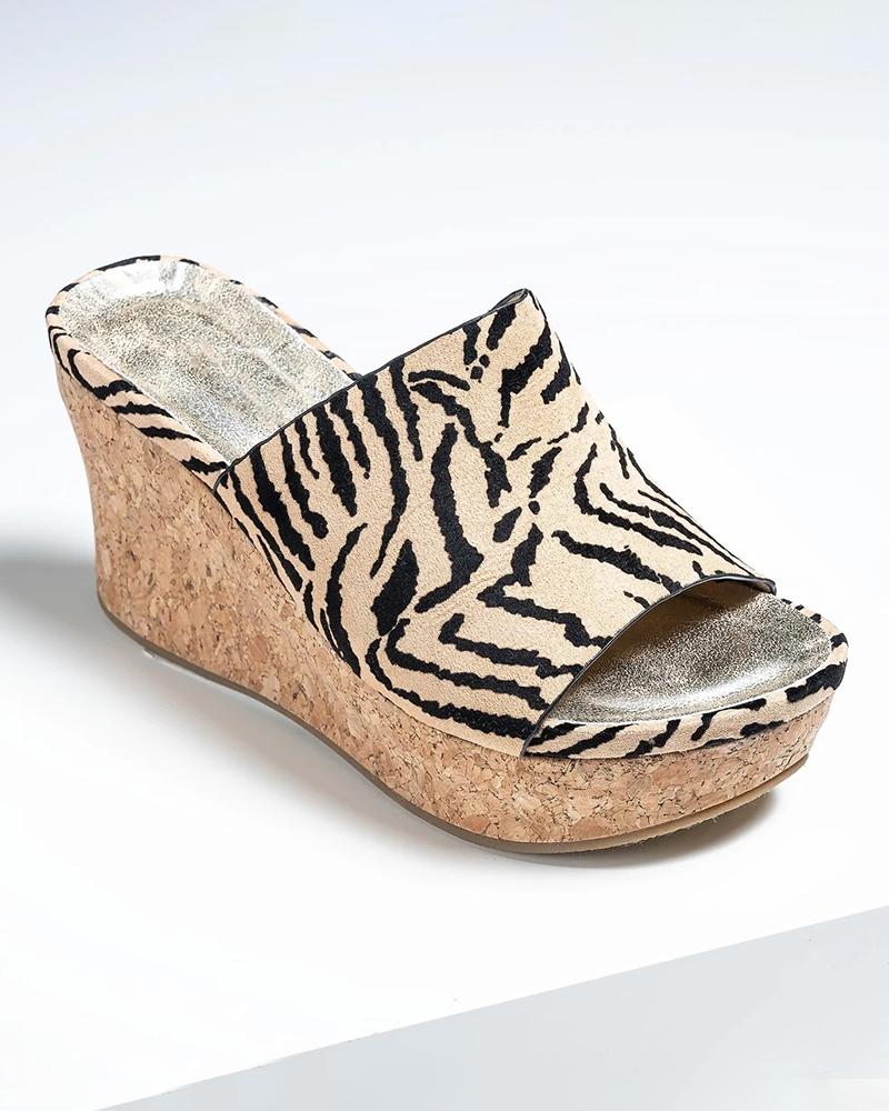 Mafulus Womens Slip on Cork Wedge Mules
