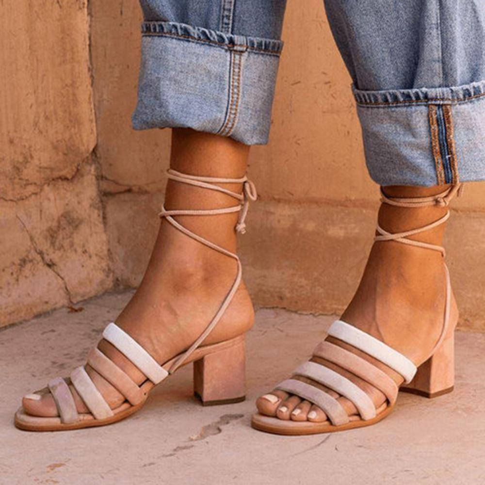 Mafulus Womens Open Toe Lace Up Chunky Heel Sandals
