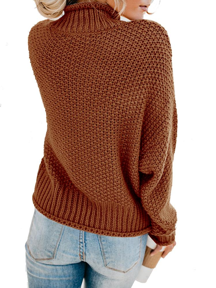 Turtleneck Sweaters Long Batwing Sleeve Pullover - Mafulus