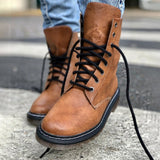 Mafulus Womens Lace Up Faux Leather Roun Toe Low Heel Combat Boots