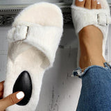 Mafulus Women Fluff Slipe-on Slides