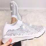 Mafulus Womens Glitter Encrusted Breathable Comfort Sneakers