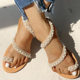 Mafulus Womens Pearl Toe Ring Casual Flat Sandals