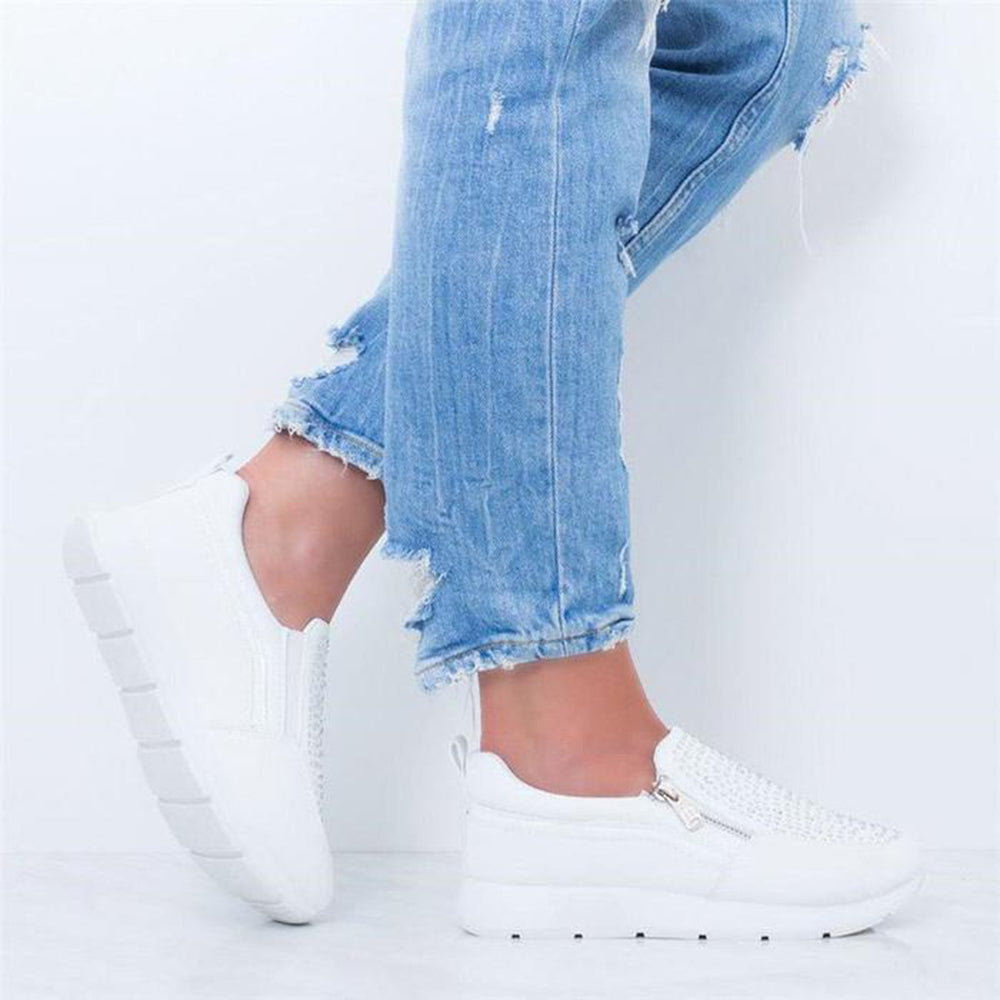 Mafulus Womens Studded Side Zipper Platform Sneakers