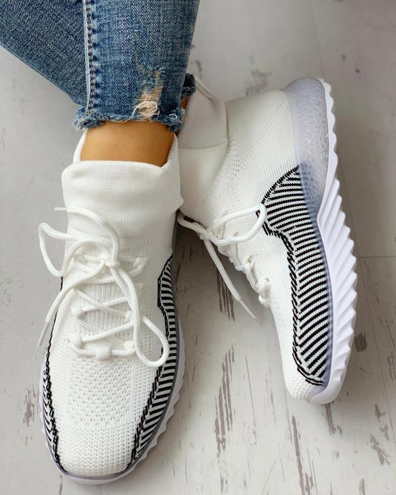 Mafulus Striped Elastic Cuff Stitching Color Lace Up Breathable Sneakers
