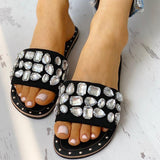 Mafulus Womens Rhinestone Summer Slides Flat Sandals