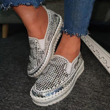 Mafulus Womens Sequins Sparkly Low Top Slip on Sneakers