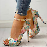 Mafulus Womens High Heel Ankle Strap Flower Print Sandals
