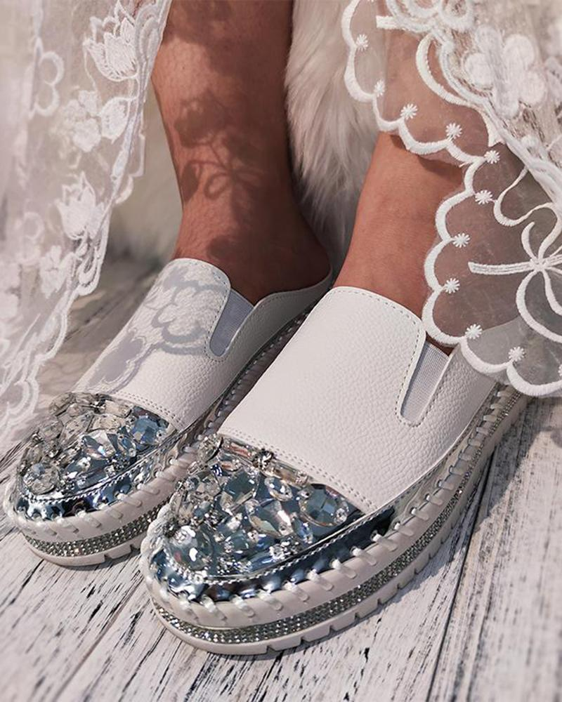 Mafulus Womens Rhinestone Flat Slip on Loafer Shoes