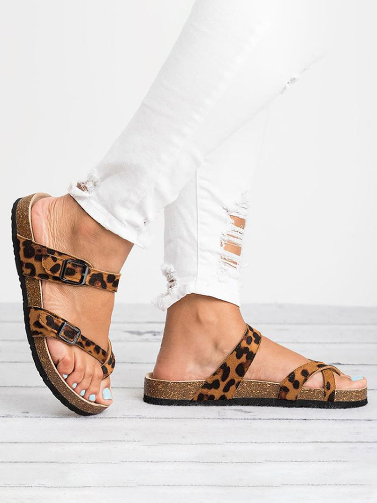 Womens Cross Toe Double Buckle Strap Summer Leather Flat Mayari Sandals
