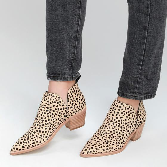 Pointed Toe Leopard Booties Cut Out Slip On Ankle Boots - Mafulus