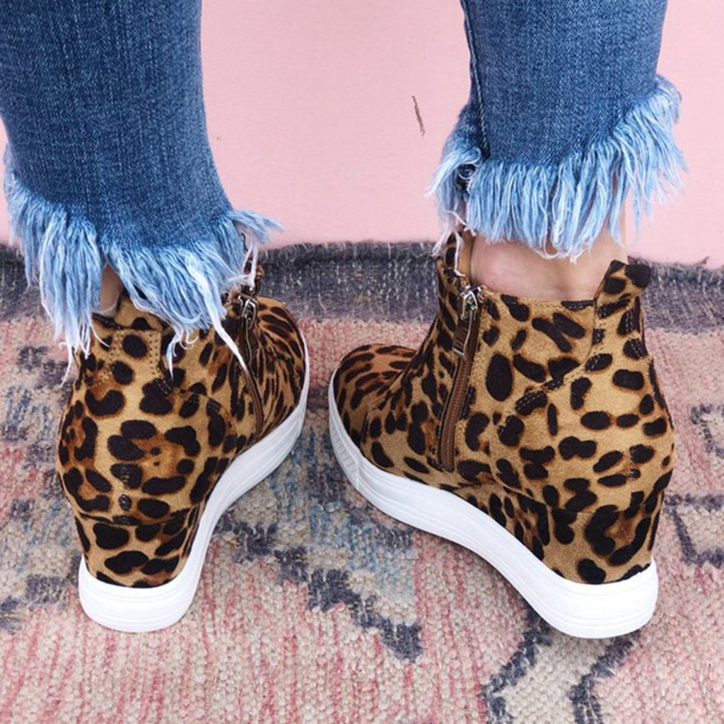 Leopard Wedge Platform Sneakers High Top Booties - Mafulus