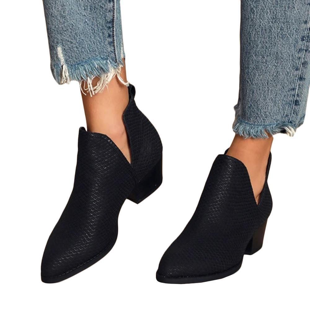 Mafulus V-Cut Pointed Toe Ankle Boots