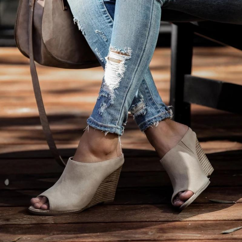 Mafulus Wedge Mules Peep Toe Sandals