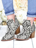Mafulus Womens Snakeskin Ankle Booties Pointed Toe V Cut Slip on Stacked Heel Boots