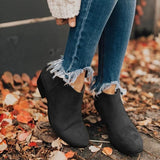 Mafulus Pointed Toe Stacked Heel Ankle Boots