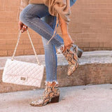 Ankle Booties Chunky Stacked Heel Snakeskin Western Boots