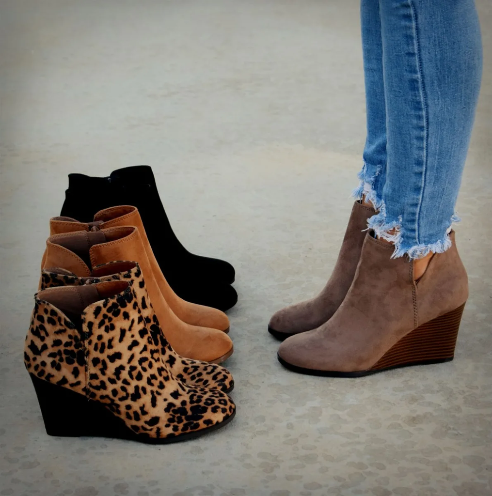 Wedge Booties Side Zipper Cut Out Ankle Boots