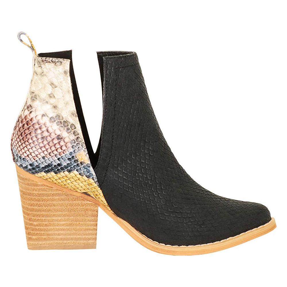Womens Snake Pointed Toe Ankle Boots Cut Out Slip On Booties - Mafulus