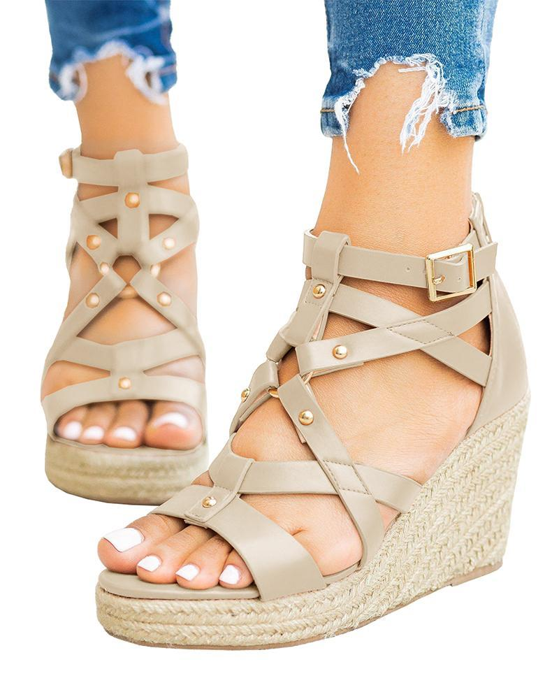 Mafulus Studded Gladiator Espadrille Buckled Wedges Back Ankle Zipper Strappy Sandals