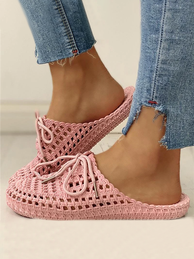 Mafulus Hollow Out Lace-Up Slides Breathable Slingback Slippers