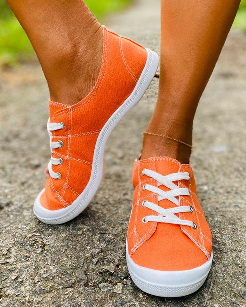 Mafulus Canvas Lace-up Flat Shoes Casual Shoes